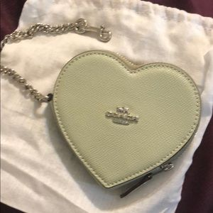 Coach coin purse leather heart green/silver NWT's